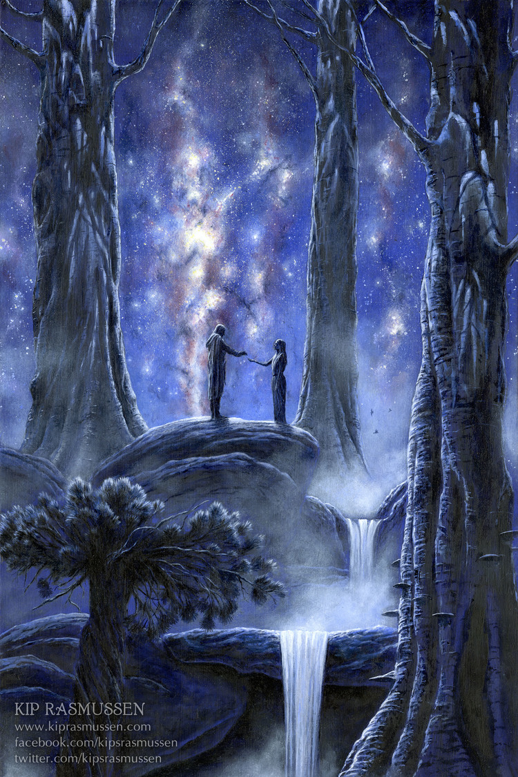Thingol and Melian meet under the stars in Nan Elmoth, beginning a portentous love story. Illustration by  Kip Rasmussen .