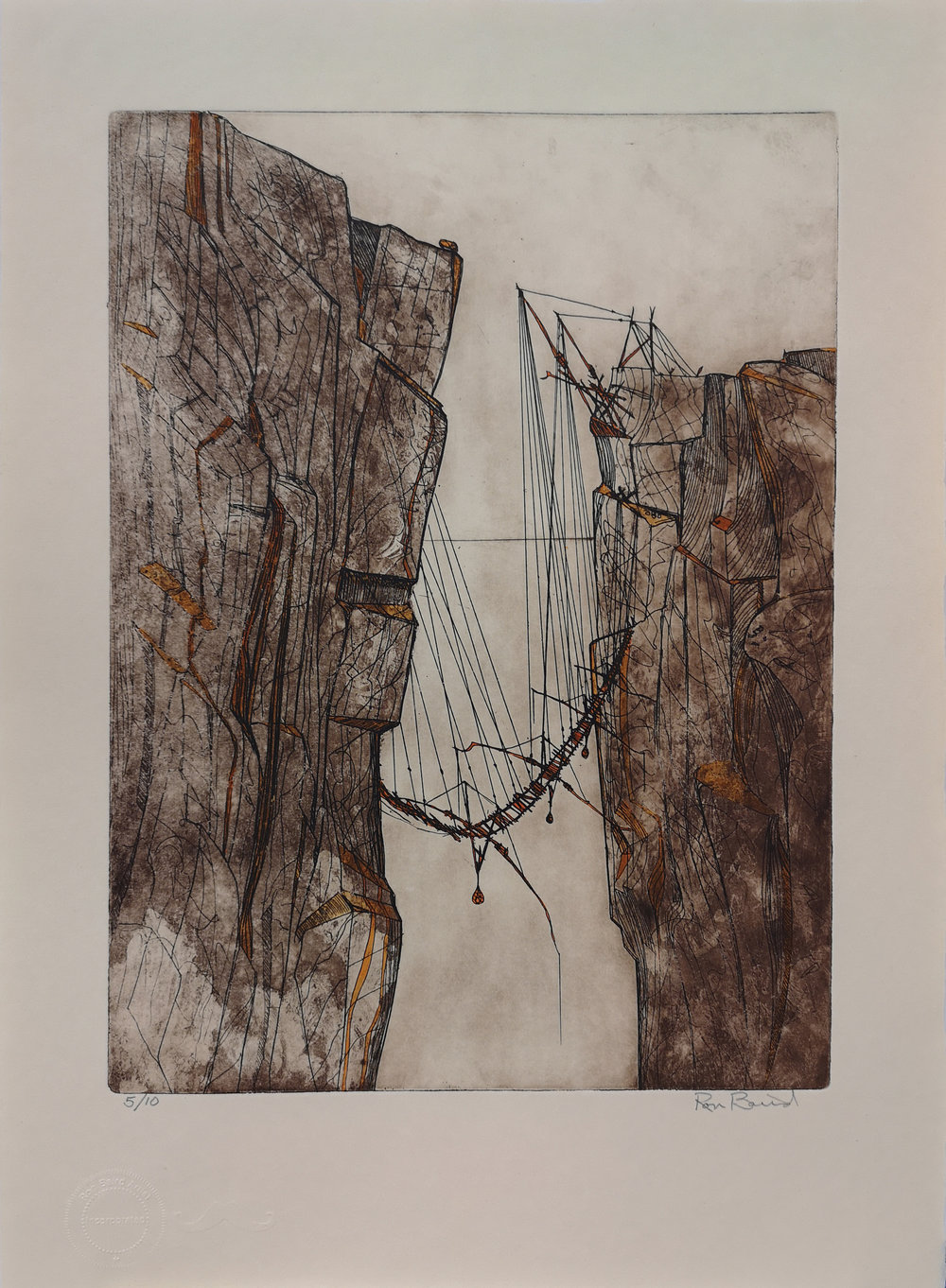 Ron Baird - Cliffhanger Series, zinc plate etching, 2018 1/10Ron Baird's Cliff Hanger series is inspired by ancient Phoenician fishing platforms (some of which are still seasonally used), discovered on the Adriatic coast of Puglia in southern Italy. The series is made from material left over from a mural the artist made for the legislature of the NWT in Yellowknife. The paper is archival, made by hand in a British mill in 1979. The ink is French, (Charbonelle) which has long been the world standard for fine etching ink. This series was executed in the spring of 2018.