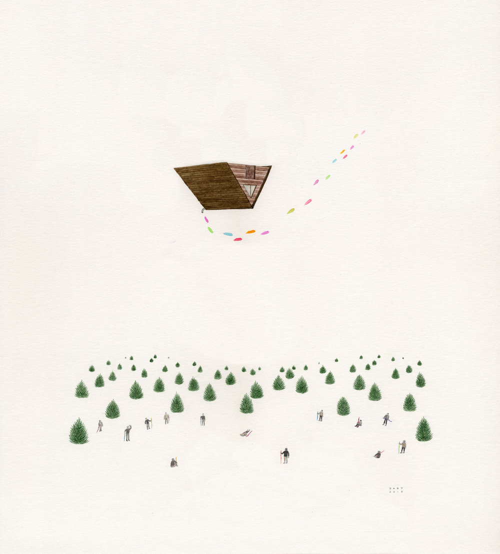 Jay Dart - Cabin of Wonders, 2013graphite & watercolour14