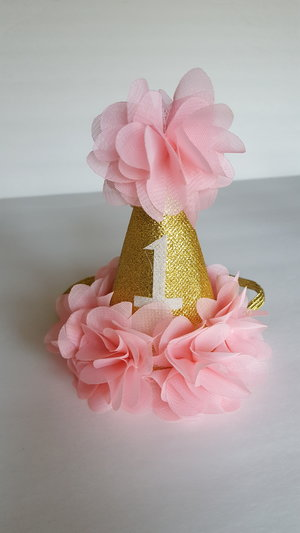 Gold Amp Pale Pink 1st Birthday Hat