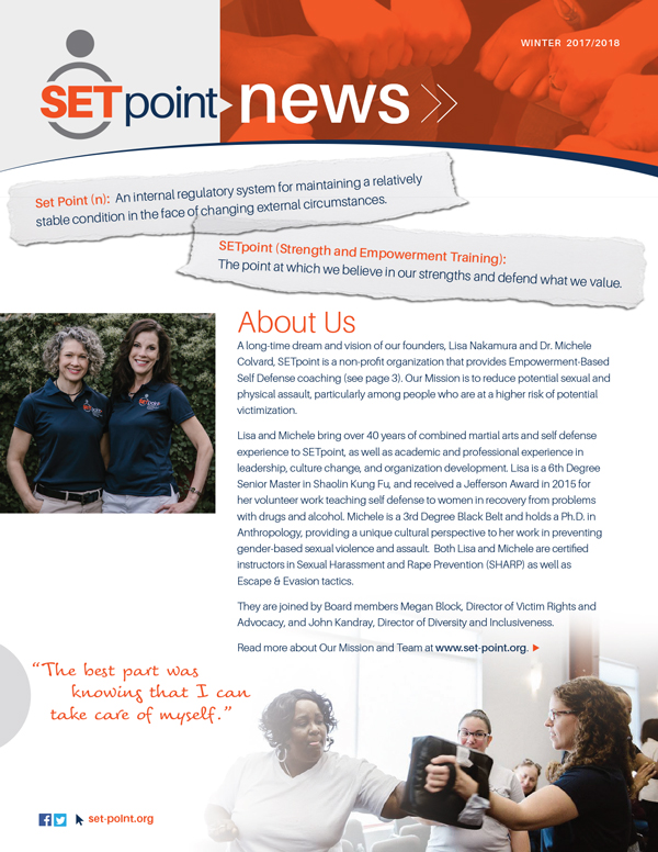 - Winter/Spring 2018Download our first issue of SETpoint News — learn about our goals, our beginning and our accomplishments during our first year!
