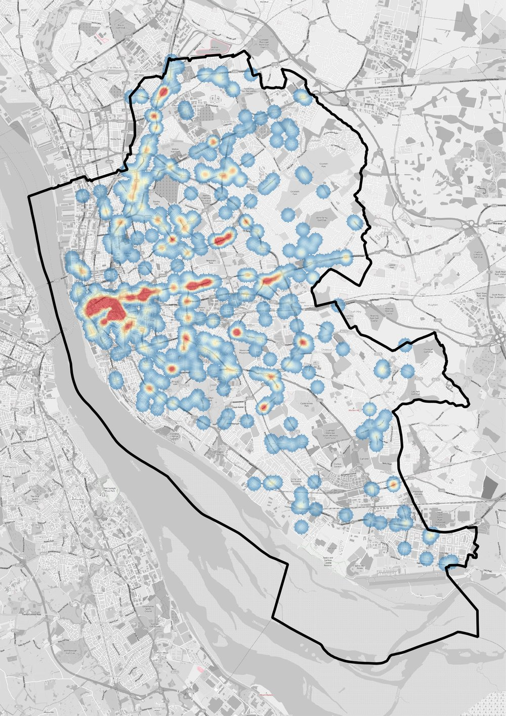 Heat map showing where adult pedestrian collisions in Liverpool occur