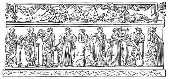Las nueve musas canónicas. Dibujo de un sarcófago del Museo del Louvre.