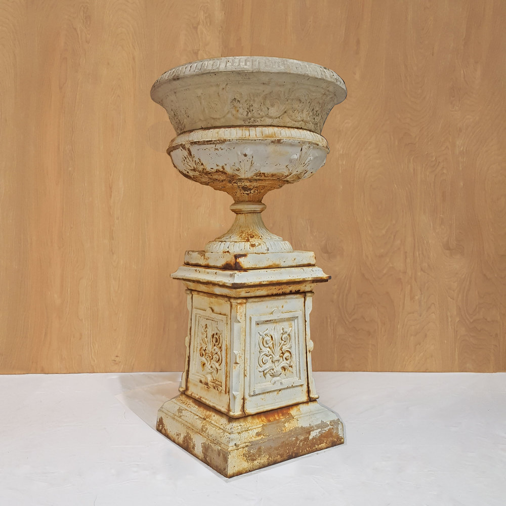Circa Antiques | York, Pa | Showroom | Cast Iron Urn & Plinth