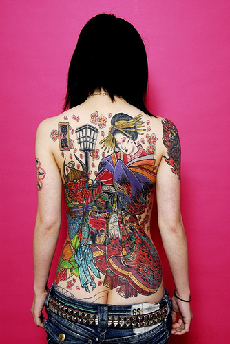 japanese Tattoo girl, back piece