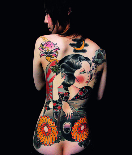 tattoo girl new style japanese tattoo american style