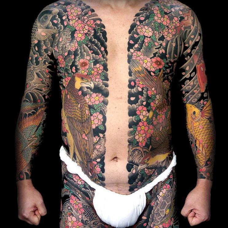 Traditional Japanese Tattoo by Horiyoshi III - Body Suit, Munewari, Chest dividing