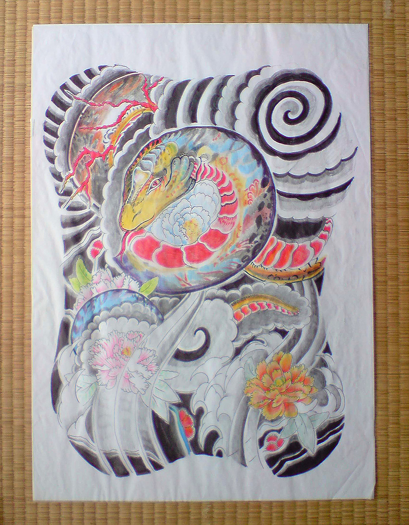 Japanese tattoo flash, back piece, horitama