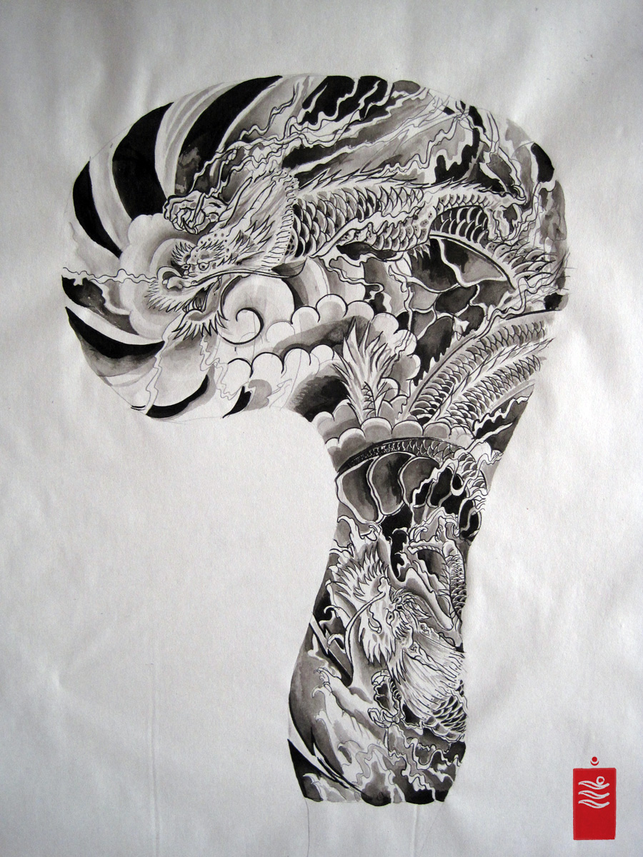 Dragon Sleeve flash tattoo
