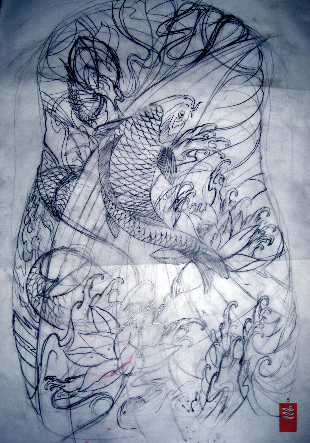 Koi and dragon Tattoo Sleeve Study