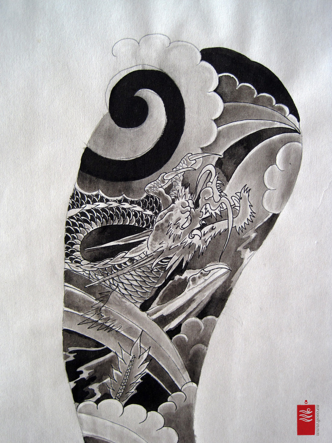Dragon Sleeve Tattoo Flash Yoso Tattoo