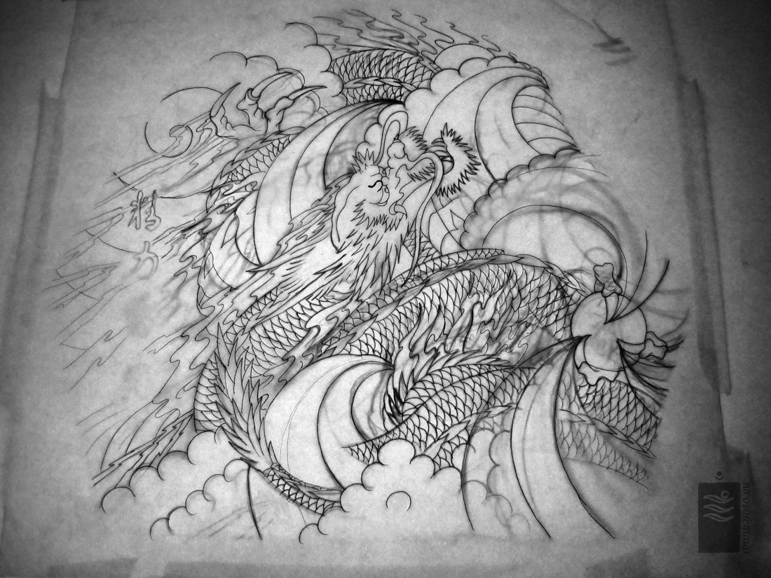 dragon tattoo sleeve drawing