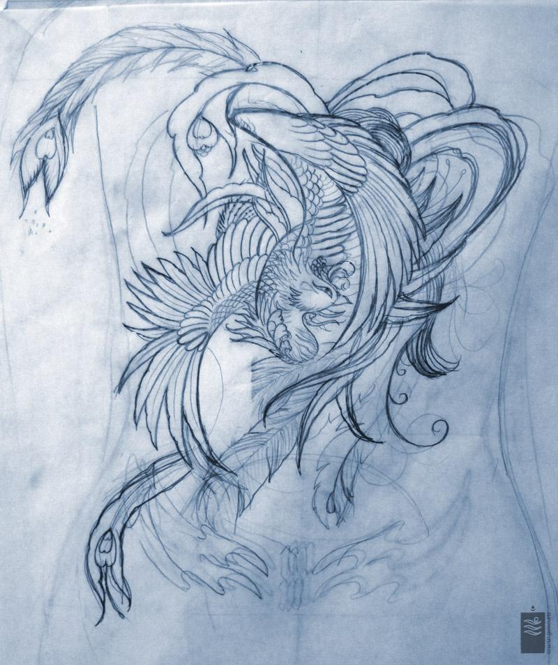 phoenix back piece tattoo