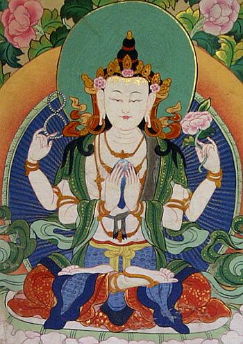 Four-armed Tibetan Chenrezig form of Avalokite?vara
