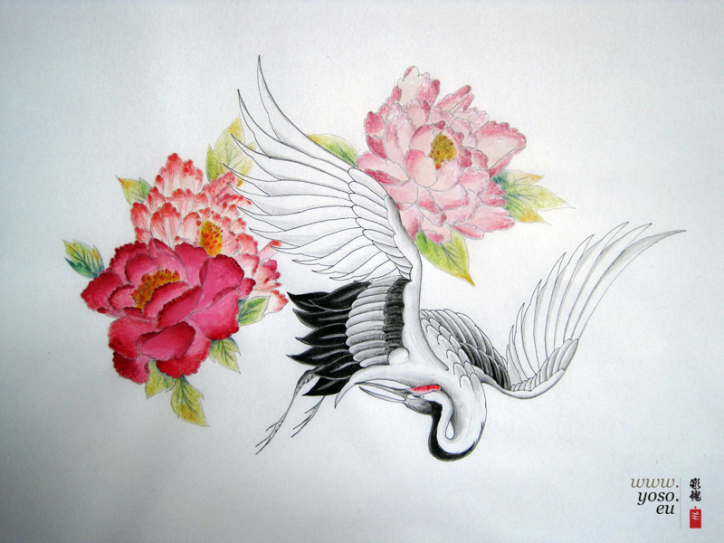 Japanese Crane Tattoo Study