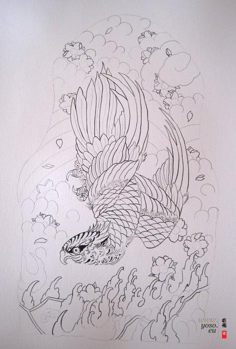 japanese tattoo study Hawk