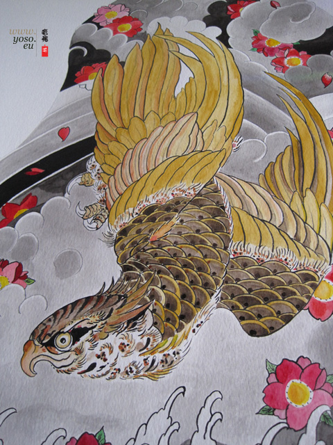 japanese tattoo, hawk study