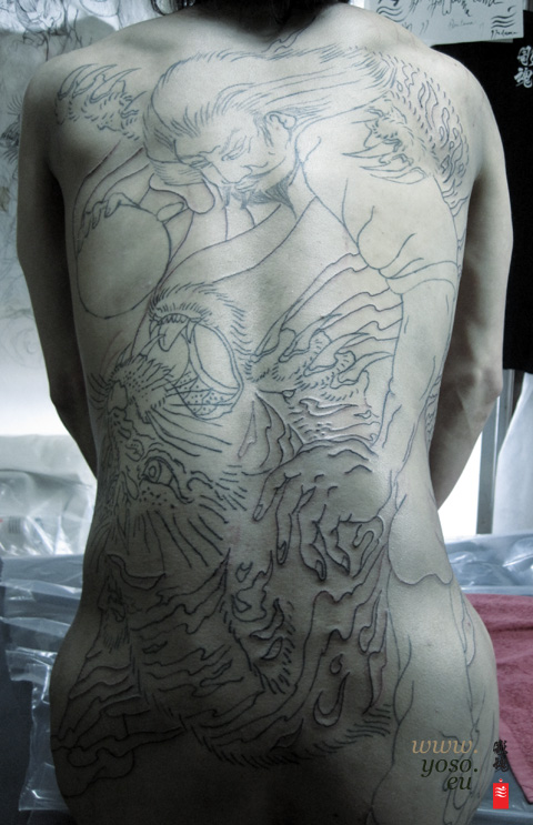 Japanese Tattoo, Tiger Back Piece