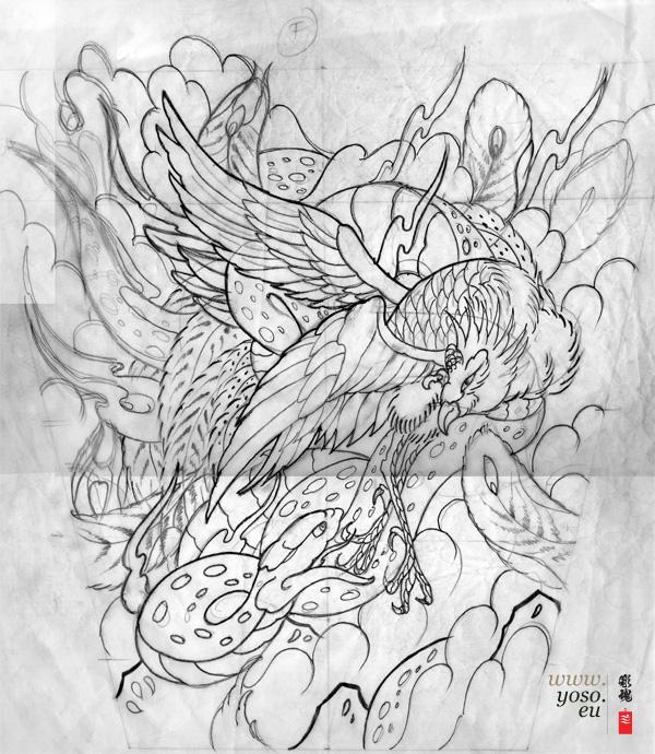Phoenix & Snake Tattoo study
