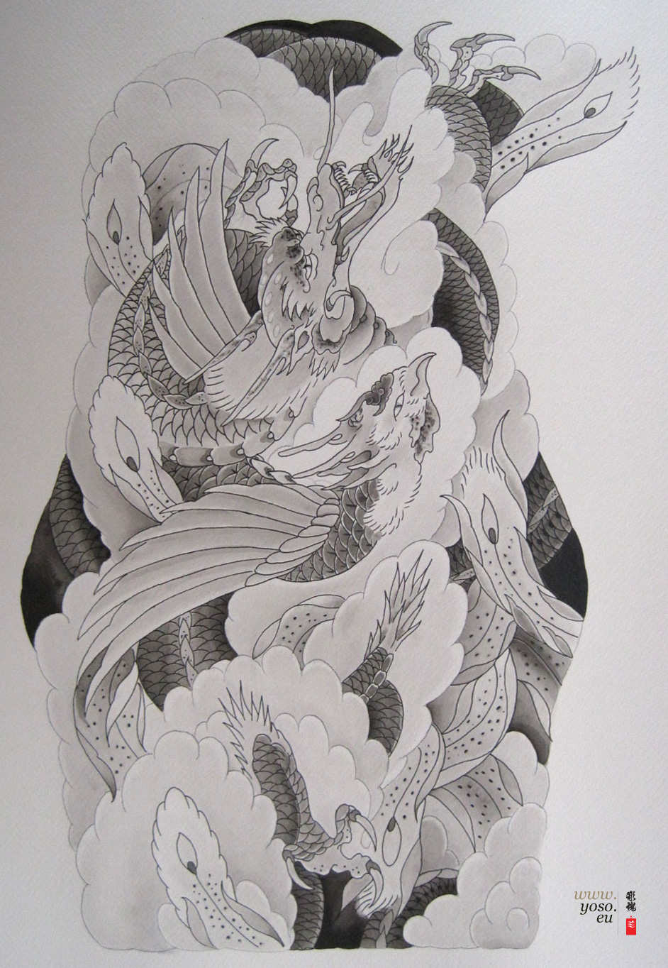 rising_dragon_phoenix_tattoo_design