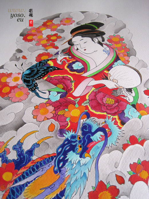 geisha, dragon, Butterfly, tattoo design