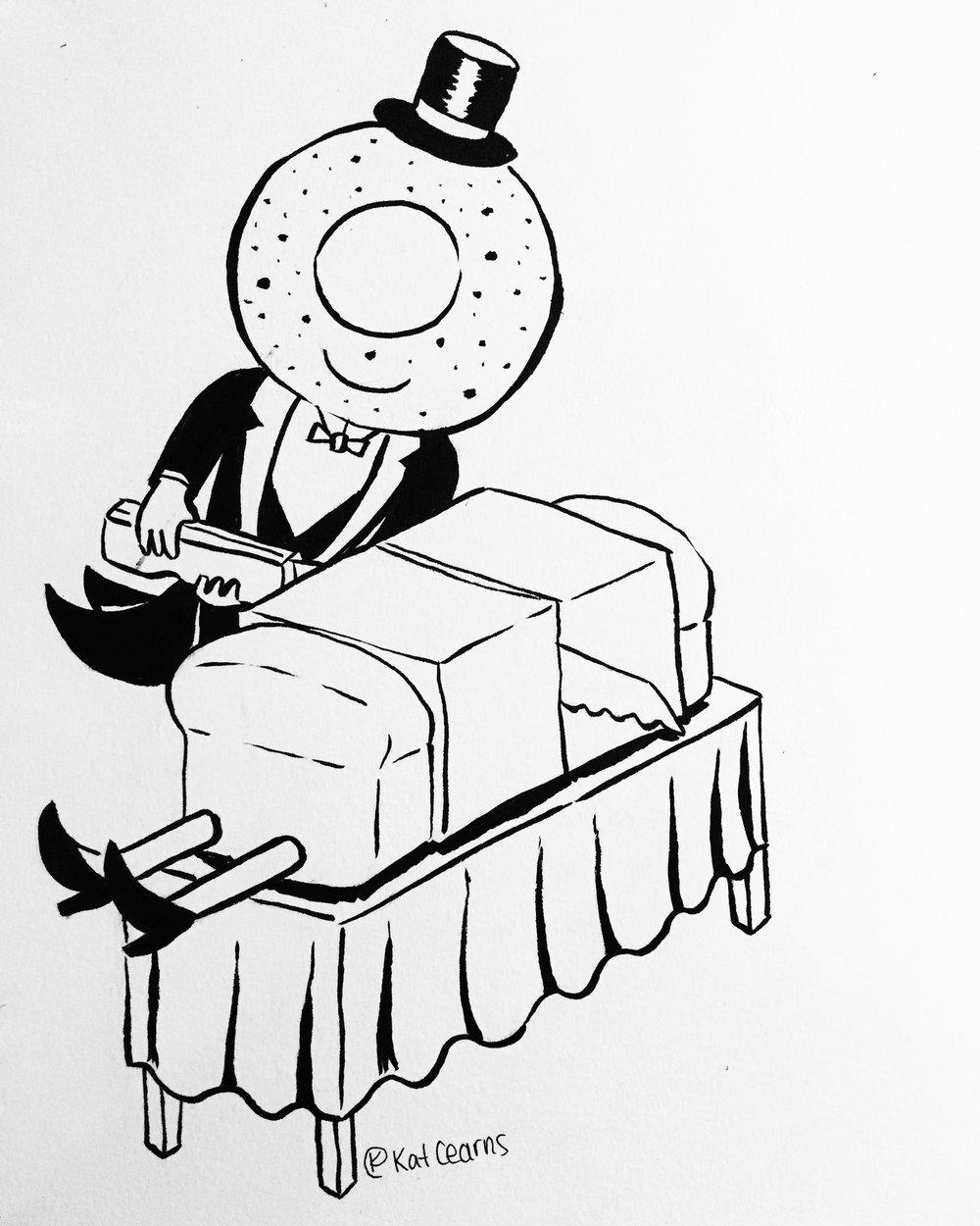 Everything Bagel Bill Cuts Betty Bread in Half