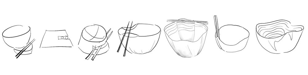 I needed to figure out how I was going to incorporate a chopstick holder into the bowl. I played with the idea of having a slit in the base of the bowl where the user could place their chopsticks, but that didn't showcase the chopsticks in the way I wanted to. I needed to have the chopsticks on top of the bowl. I decided to fold the rim of the bowl to make a place for the chopsticks to rest