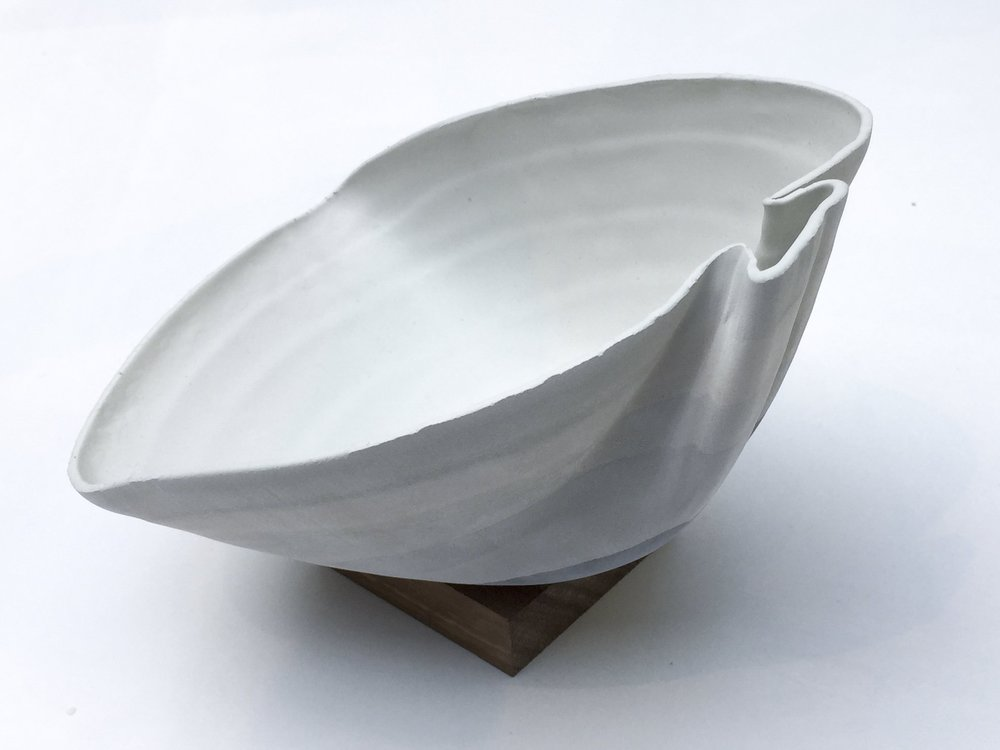 NGV Creation - The leaf-shaped bowl with the squared spout that I made while working at the NGV gave me the idea to make a soup bowl with a spout that would also be a chopstick holder.