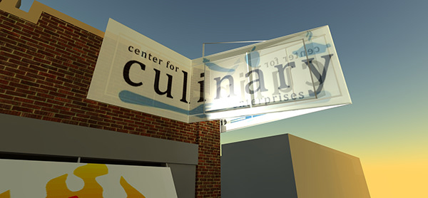 CENTER FOR CULINARY ENTERPRISES - DORRANCE H HAMILTON  EXTERIOR SIGNAGE 2