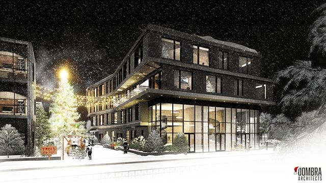 Beaubien Building . . . #oombraarchitects #oombra #brushpark #detroit #design #residential #holiday #rendering #visualart #modern #christmastree #snow