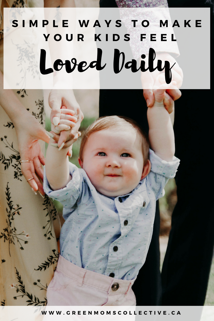 """""""Simple ways to make your kids feel loved daily"""" with Green Moms Collective - In this new age of technology and consumerism we as mothers are faced with a new challenge in loving our kids. We are given more options of what to offer our kids but are often left with less of ourselves and time to give them. We don't have to break the bank or plan elaborate outings or own certain things to show our kids we love them.All we need to do is show up for them everyday, and make time at least once a day that is just for them and nothing else.https://www.greenmomscollective.ca/make-kids-feel-loved-everyday/"""