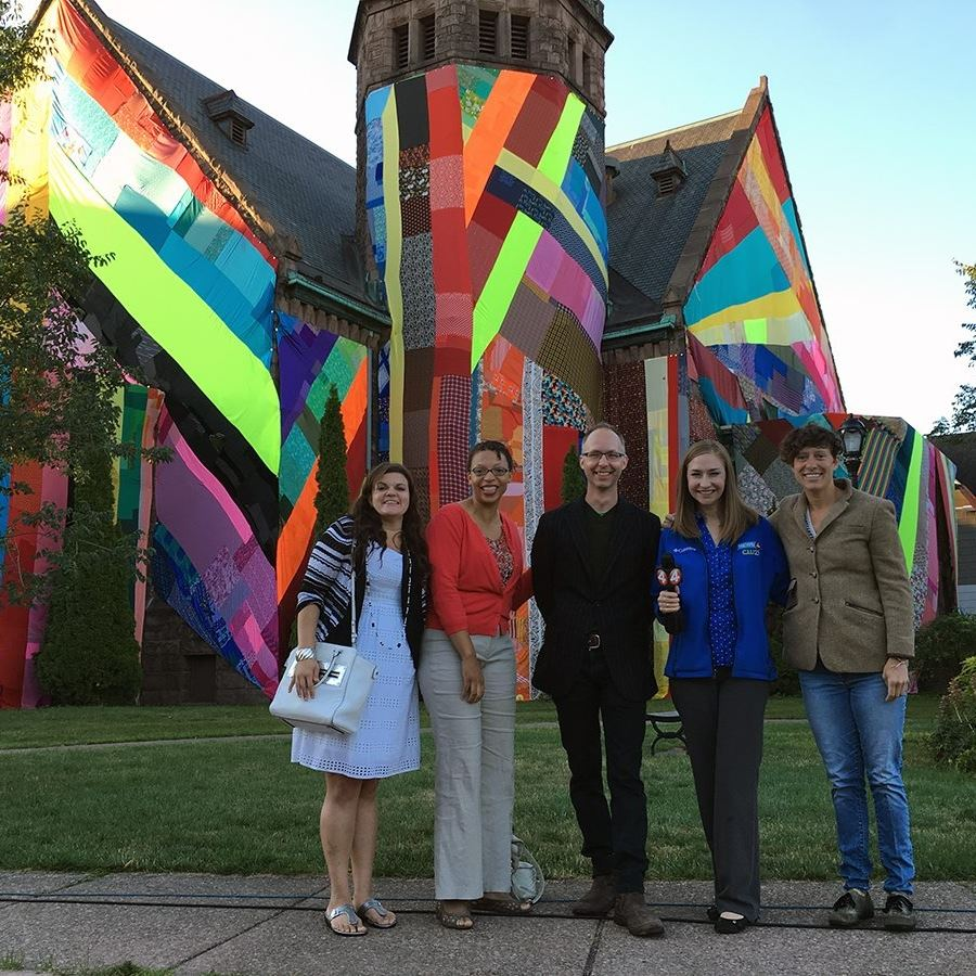Emily Tucker, Rachel Heckl, Aaron Ott, Tyra Johnson and Katie Alexander from Chanel 4 in front of a piece of Albright Knox Art Gallery Public Art by Amanda Browder.  My new gallery space will be behind the church which is being renovated to become a center for world music and dance