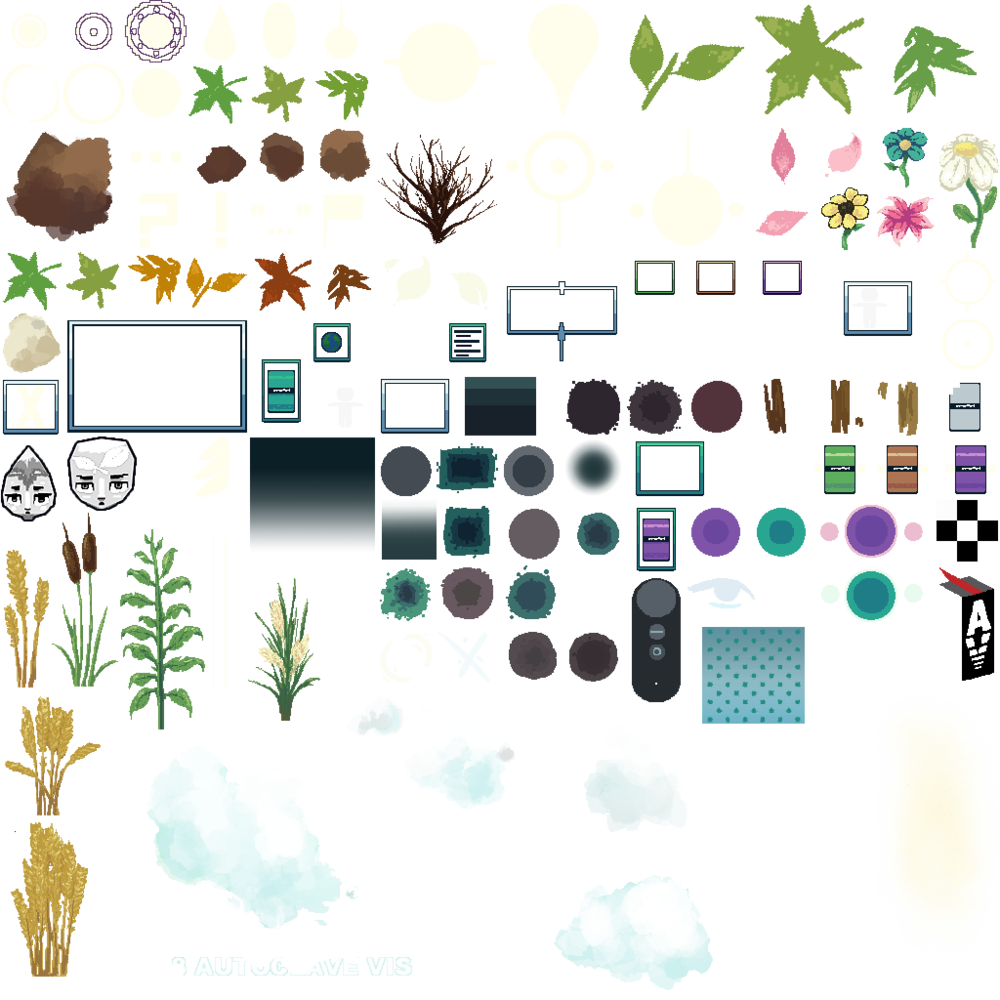 Current sprite sheet containing not only UI elements, but various other 2D game assets.
