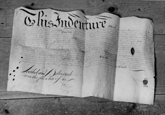 1746 sheepskin deed for Deep Run Meetinghouse land. Credit: Jay Ruth