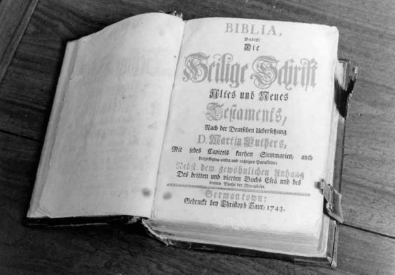 This 1743 Christopher Sauer Bible printed at Germantown was used as the pulpit Bible at Deep Run. Credit: Jay Ruth