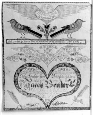 John Adam Eyer made this fraktur for Jacob Beitler of the Deep Run School. It is a cover for a writing book dated June 16, 1784. Credit: Jay Ruth