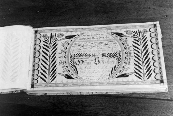 Fraktur Bookplate dated 1815 for Sarah Oberholtzer, singing scholar of the Deep Run School. Credit: Jay Ruth