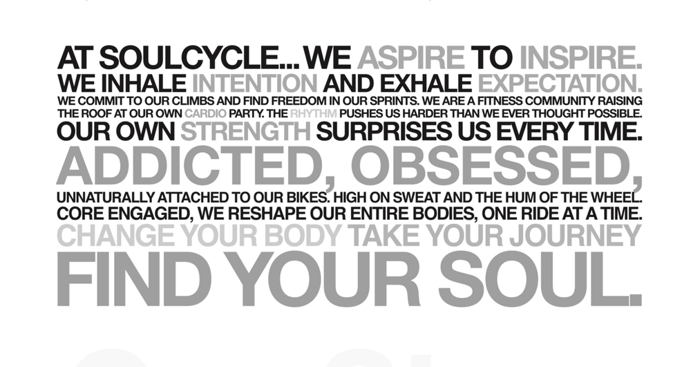 Soulcycle brand messaging