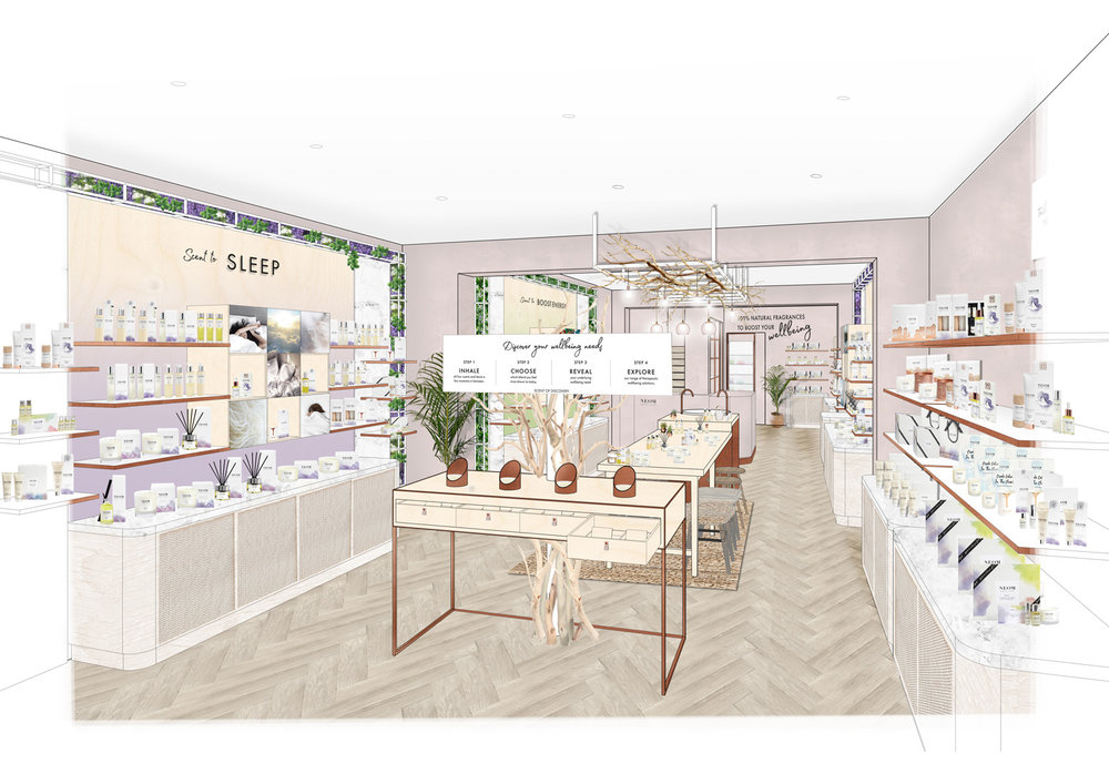 Neom   Our latest collaboration, opening in Guildford later this month - a sensory wellbeing experience bringing mindful moments and round the clock wellbeing to the 'always on' consumer of today