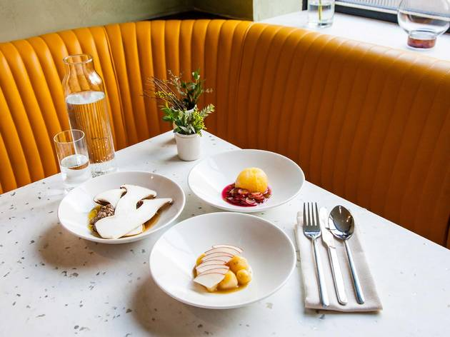 Cub Restaurant, London:  Renewably sourced food, interiors made from reusable materials, even filtered air through breathable clay walls!