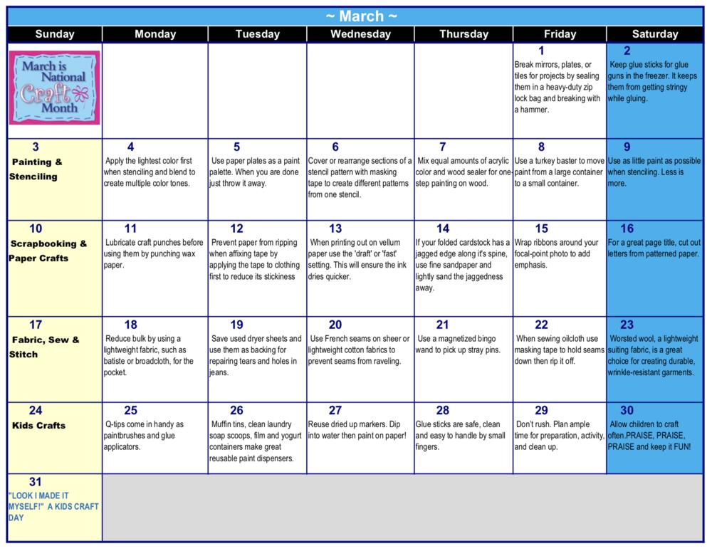 National Craft Month Calendar