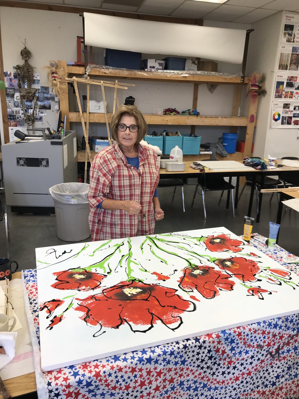 Margaret with the start of a poppies painting