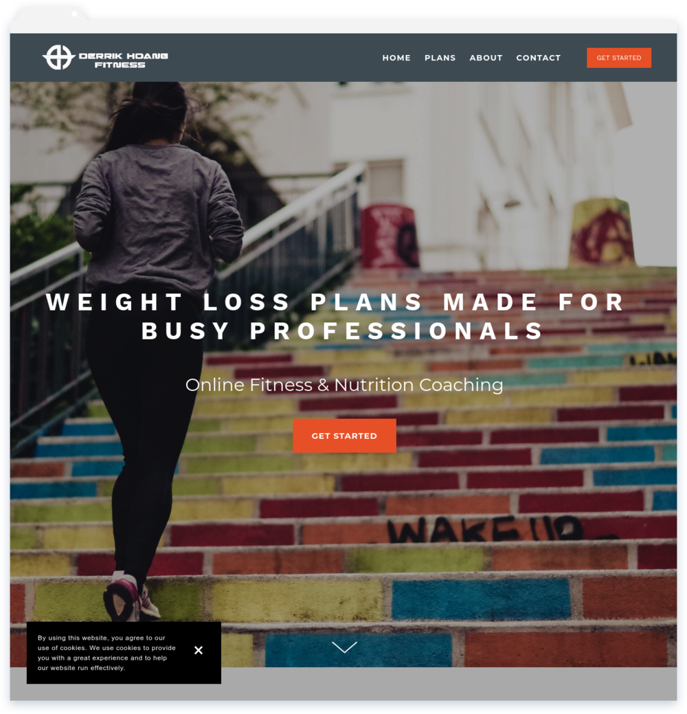 """Derrik Fitness, Trainer - """"Lisa was great to work with. She designed my website quickly and creatively. Highly recommended!""""-Derrik Hoang"""