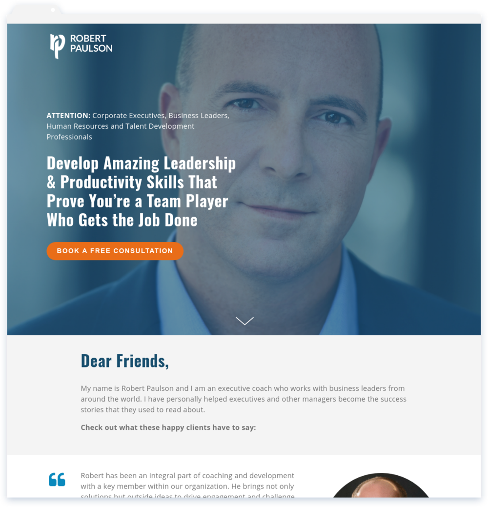 """Robert Paulson, Solutions Coach - """"Lisa created a quality site and delivered!""""-Rob Paulson"""