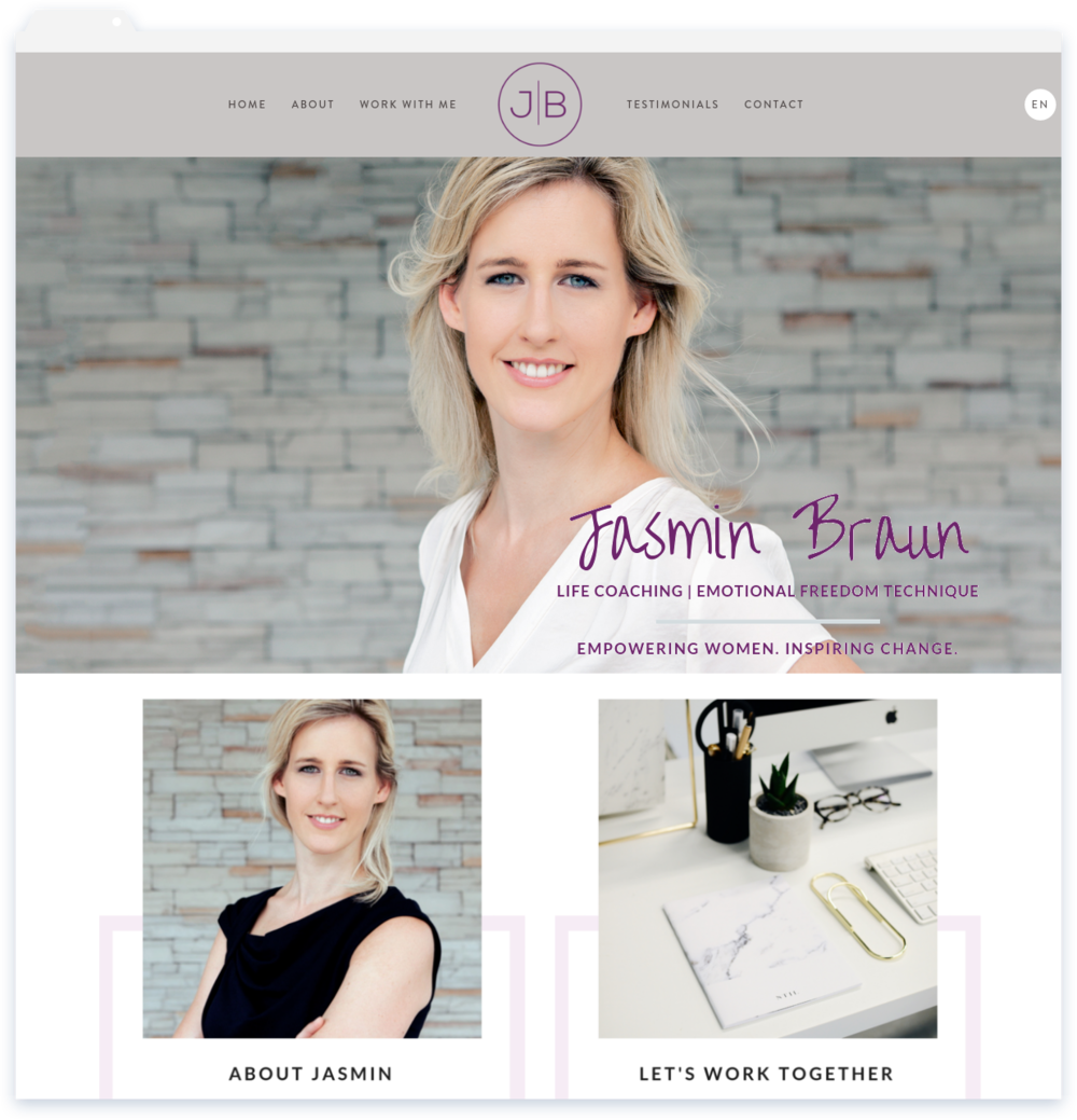 """Jasmin Braun, Life Coach - """"Lisa created my site in both English and in German for me. I am very happy with the finished product.""""-JB"""