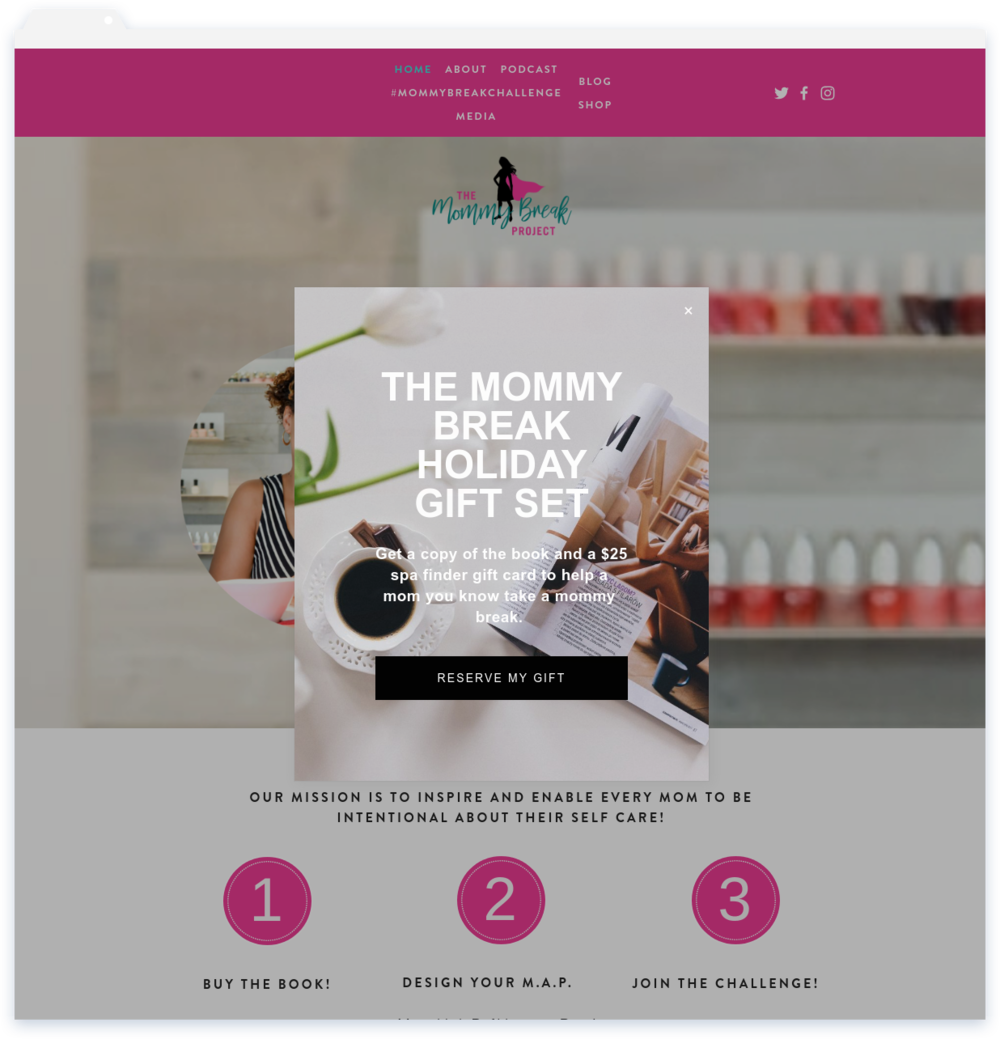 """The Mommy Break Project, Blogger - """"Fantastic! Lisa was very responsive. The site she created exceeded my expectations!""""-Nicole Durham"""