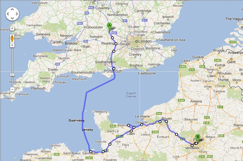 A 670 km week long trip that passes by many interesting sights (e.g., Mont St Michel, the D-Day Landing sites, Giverny, Versailles)