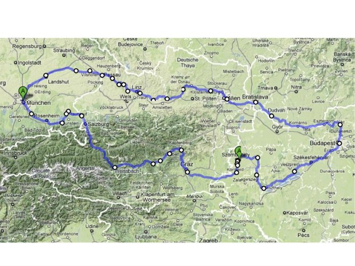 A very long bike trip (28 days) from Munich to Budapest and back. The route covered about 2000 km and crossed four countries