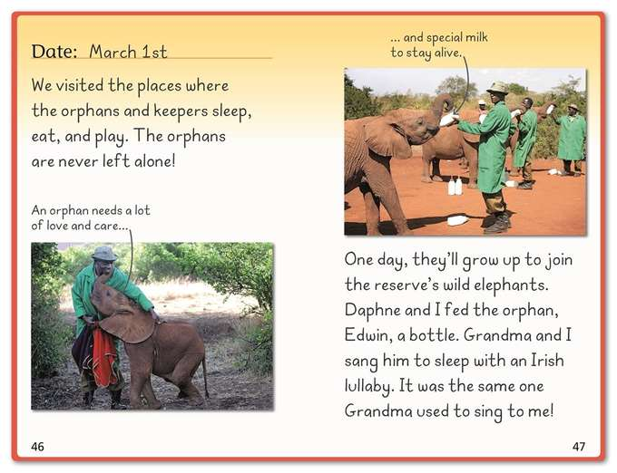 "Two spreads from  Hope for the Elephants.  To write these books, I interviewed experts from around the world to discover ""the hope"" and hard work behind trying to save the African and Asian elephants. There is still much work to do--and things we can do to save these majestic creatures."