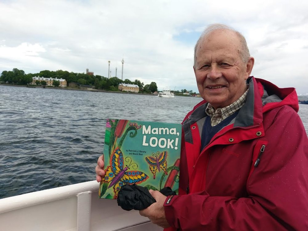 "Here is my cousin, Lennart Nicklasson, and ""Mama, LOOK!"" heading to the Stockholm Archipelago islands! I hope to visit them--and him in the near future! :) PJM"